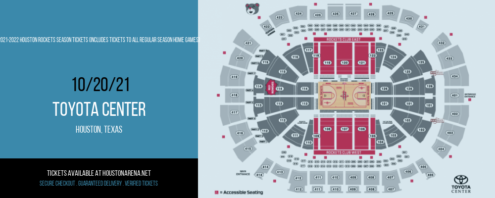2021-2022 Houston Rockets Season Tickets (Includes Tickets To All Regular Season Home Games) at Toyota Center